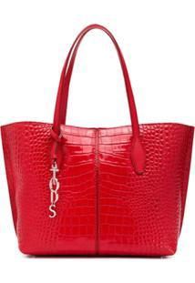 Tod'S Crocodile-Effect Tote Bag - Vermelho