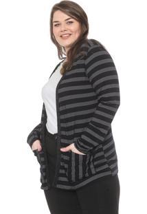 Cardigan Secret Glam Plus Size Aplicação Preto/Off-White