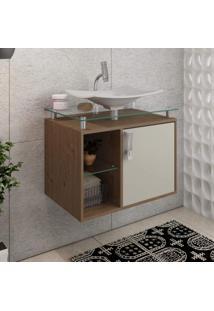 Gabinete De Banheiro 1 Cuba Sobreposta Em Base De Vidro Lagos Mgm Móveis Amêndoa/Off White