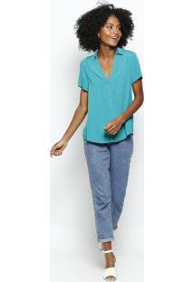 Camisa Lisa Com Recorte- Verdehering