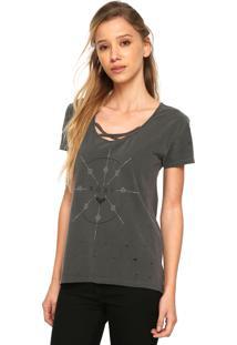 Camiseta Roxy Vintage Stripes Cinza