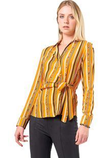 Camisa Mx Fashion Estampada Amarração Júlia Mostarda
