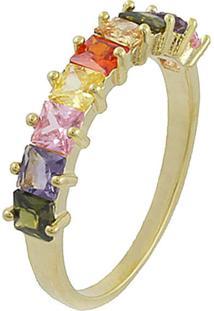 Anel Viva Jolie Colorido Quadradinhos Rainbow Banho Em Ouro - Kanui
