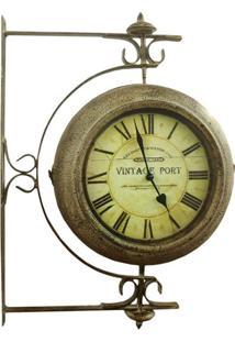 Relógio De Parede Estação Giratório Oldway Marrom
