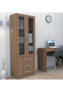 Armário Para Escritório Com Porta De Vidro E 3 Gavetas Bliv - Castanho - Multistock