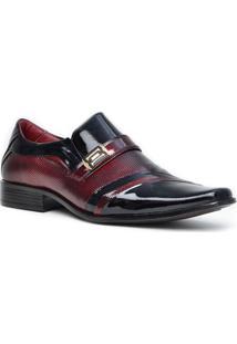 Sapato Social Gofer Promais 0751A Co - Masculino-Preto+Vermelho