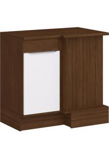 Balcão De Cozinha Para Canto 92,5 Cm 1 Porta Cs603R Cacau/Branco - Decibal Móveis