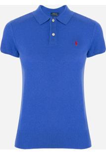 Polo Ralph Lauren Camisa Polo De Tricô Canelada - Azul