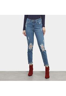 Calça Jeans Skinny Sommer Rasgos Cintura Média Feminina - Feminino-Azul Escuro