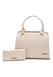 Bolsa Feminina Bicolor Mais Carteira Metalassê, Com Alça Transversal Santorini Handbag Creme