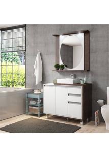 Conjunto De Banheiro Stm Móveis D1000 Branco Rust Se