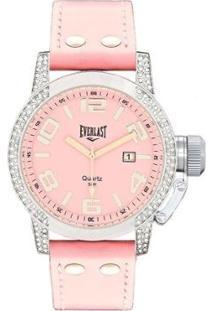 Relógio Pulso Everlast Com Pulseira Em Couro E064 Feminino - Feminino-Rosa