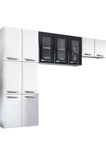 Cozinha Compacta 3 Portas De Vidro - Colormaq - Branco / Preto
