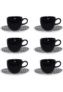 Conjunto Xícaras De Chá Com Pires Oxford Porcelana 12 Peças Ryo Ink