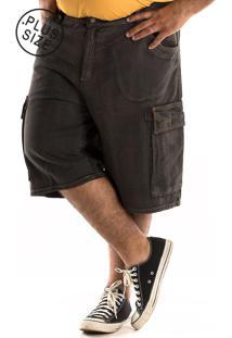 Bermuda Konciny Jeans Cargo Plus Size Cinza