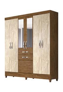 Guarda Roupa Casal Mafra 6 Portas E Espelho Castanho/Avelã Wood - Mova