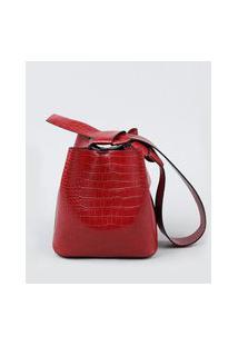 Bolsa Feminina Bucket Grande Croco Com Alça E Laço Vinho