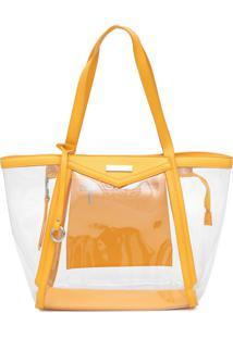 Bolsa Santa Lolla Transparente Amarela