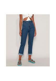 Calça Jeans Feminina Sawary Mom Cintura Alta Com Cinto E Pence Azul Médio