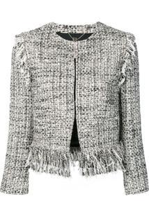 Twin-Set Fringed Boucle Jacket - Branco