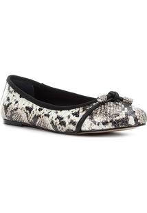Sapatilha Couro Shoestock Cobra Feminina - Feminino-Off White+Preto