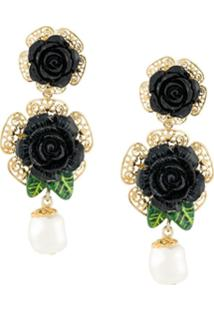 Dolce & Gabbana Par De Brincos Floral - Metálico
