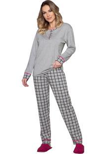 Pijama Vincullus Manga Longa Cinza
