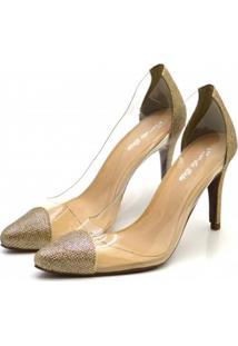 Scarpin Transparente Fandarello Dourado