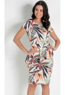 Vestido Com Babado Floral Bege Moda Evangélica