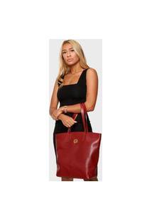 Bolsa Shopper Couro Mariart 5220Mrt Vermelha