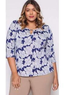 Blusa Almaria Plus Size Pianeta Estampado Azul Azul