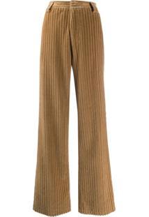Ami Paris Calça Pantalona De Veludo Cotelê - Neutro