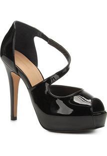 Sandália Shoestock Meia Pata Verniz - Feminino-Preto
