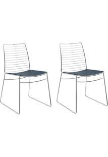 Kit 2 Cadeiras 1712 Azul Noturno/Cromado - Carraro Móveis