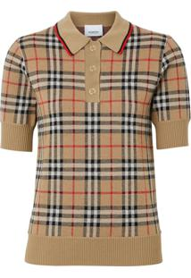 Burberry Camisa Polo Xadrez - Neutro