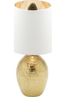 Abajur Texturizado- Dourado & Branco- 41Xã˜25Cm- Rojemac