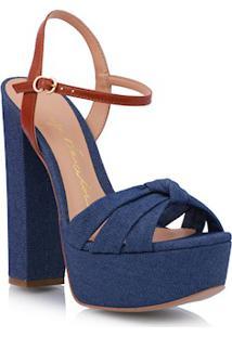 Sandália Meia Pata Nó Azul Jeans
