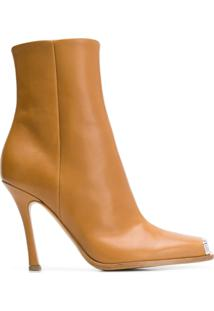 Calvin Klein 205W39Nyc Ankle Boot Bico Quadrado De Couro - Neutro