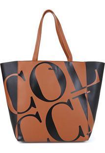 Bolsa Colcci Shopper Maxi Logo Feminina - Feminino-Caramelo+Preto