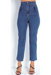 Calça Jeans Clochard Com Pregas Sawary