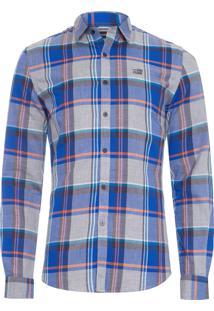 Camisa Masculina Shore Check Classic - Azul