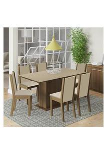 Conjunto Sala De Jantar Madesa Ohana Mesa Tampo De Madeira Com 6 Cadeiras Marrom