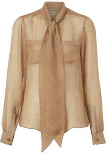 Burberry Blusa Oversized De Seda Com Estampa - Neutro