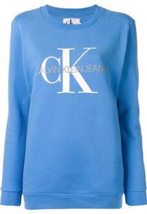 997bfb0c63911 ... Calvin Klein Jeans Blusa De Moletom Com Estampa De Logo - Azul