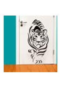 Adesivo De Parede Animais Tigre Caminhando - Eg 125X58Cm