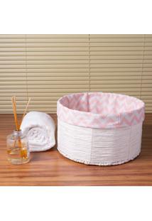 Cesto Organizador Redondo Grande Branco E Rosa Coisas E Coisinhas