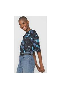 Camiseta Colcci Mangas Bufantes Folhagem Preta/Azul
