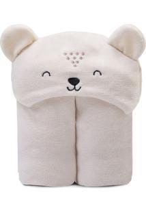 Cobertor Bichus Com Capuz Urso- Marrom Claro- 85X110Papi