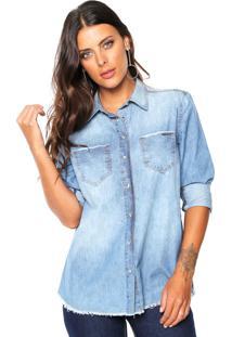 848c3ef5f6 ... Camisa Jeans Colcci Estonada Azul