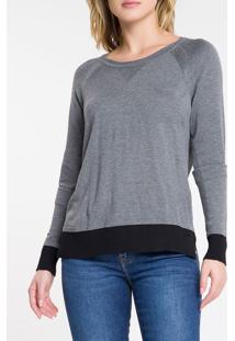 Blusa Tricot Ml Slim Lisa Gc Tricolor - Chumbo - P